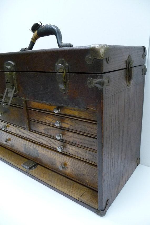 Antique tool chest machinist george scherr ny oak wood