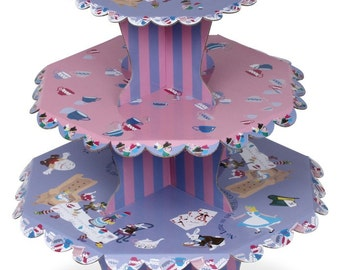 Alice in Wonderland Cupcake Stand and 12 Alice Wraps