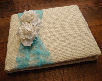 Rustic Garden Burlap and Lace Wedding Guest Book - Choose Your Colors