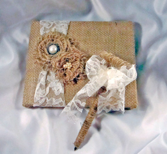 Rustic Burlap Lace and Pearl Guest Book and Pen Set. Style: Sheron Set