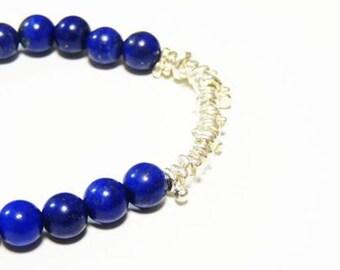 lapis lazuli and silver bracelet