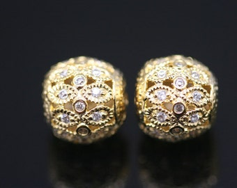 1pcs - gold plated over sterling silver double headed drum ball sized 10 by 10mm