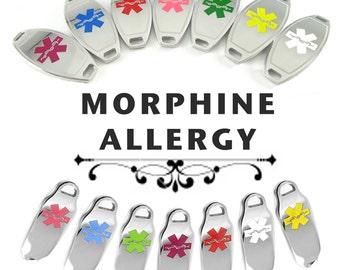 MORPHINE ALLERGY Medical ID plate Pre-Engraved, for Stylish  Beaded Bracelets