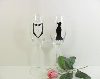 Champagne Glasses Hand Painted Black Tie Affair Bride Groom Little Black Dress Tuxedo Toasting Flutes Set of 2