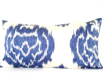 Navy Blue Ikat Pillow Cover, Long Lumbar Pillow Cover, Bohemian Decor, Navy Blue, 12x22 Inch