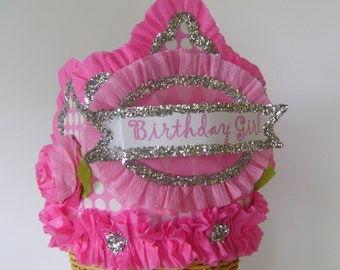Birthday party crown, birthday party hat, pink polka dot birthday hat, birthday girl hat, customize