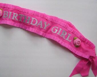 Birthday sash, Birthday Girl Sash, customize with any colors- adjustable for adult or child