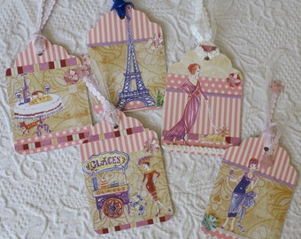 Parisian Inspired Gift Tags Set of 5 Collage Cute