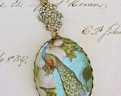 Peacock Blue Necklace - VIintage Glass Peacock and Magnolia Flower Necklace - Handmade