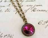 Necklace Fuschia Pink Rhinestone Vintage Brass Necklace Bridesmaids