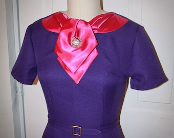 Joanie Wiggle Dress-Mad 60s - Work Dress- Purple and Fuchsia- Custom Made