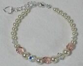 Flower Girl Gift Swarovski Pearl Bracelet Little Girls Childrens Jewelry Light Rose Glass Bead Ivory Cream Pearl AB Crystal Heart Charm B066