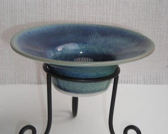 1970s 2 Piece Blue/Green Shallow Vase with Stand
