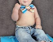 Blue Sock Monkey Bow Tie - Boy