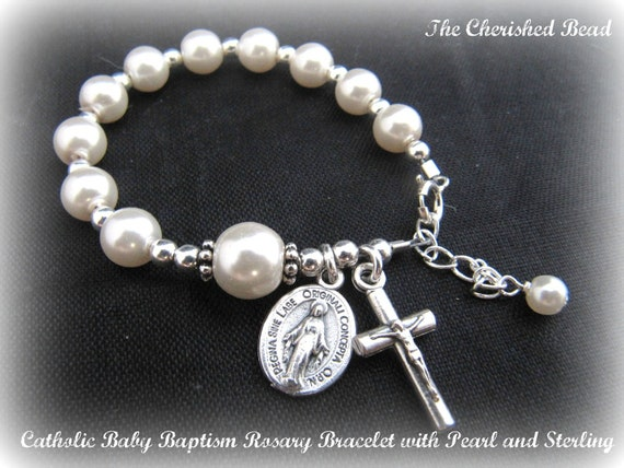Catholic Baby Baptism Pearl and Sterling Silver Rosary Bracelet