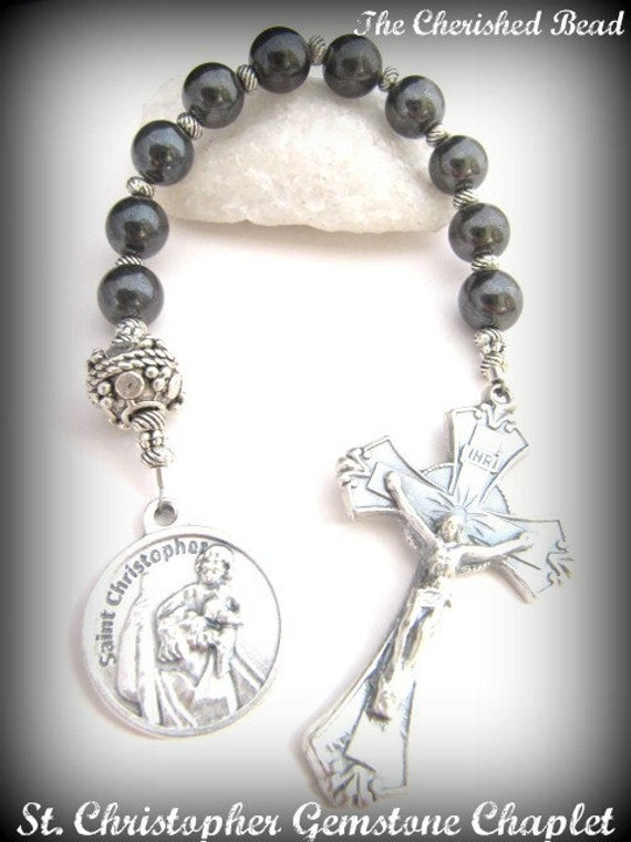 St Christopher Catholic Gemstone Hematite Chaplet