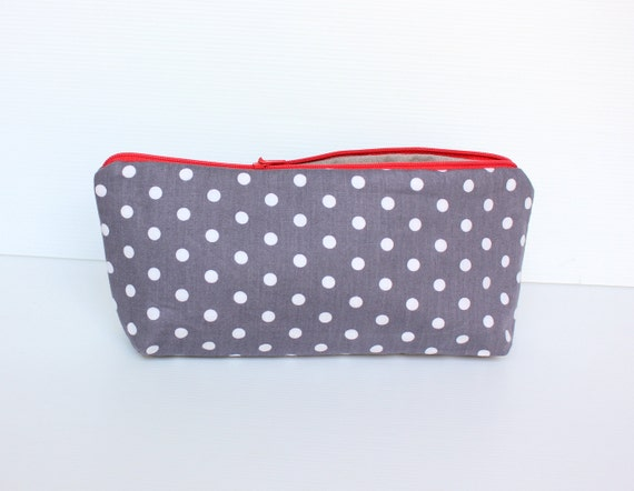 Grey Polka Dot Pencil Case. Red Zippered Cosmetic Pouch