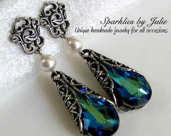 Bermuda Blue Earrings, Antique Silver Victorian Filigree, Filigree Earring Post, Teardrop Swarovski Crystal, Blue, Green