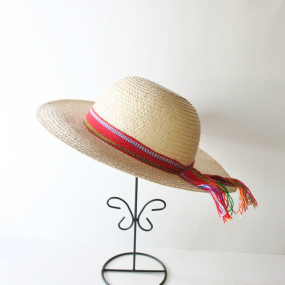 Vintage STRAW Hat with RED Ribbon