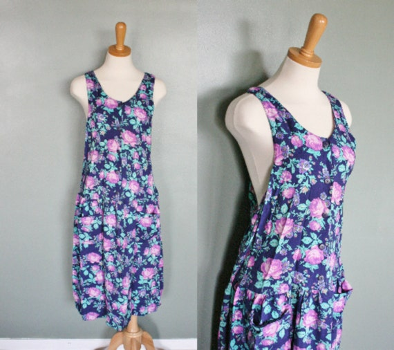 Vintage 80s RACERBACK Floral Day Dress - Women M L - Bathing Suit Cover Up
