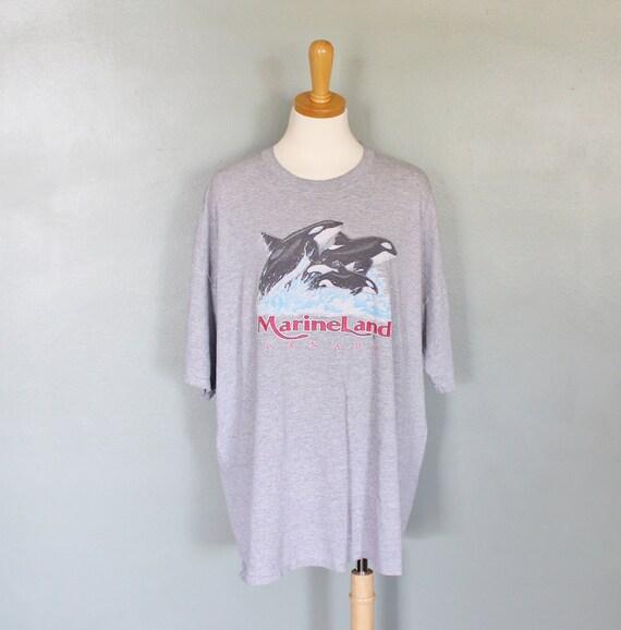 Vintage 80s MARINE LAND Canada Killer Whale Tee Shirt - Women Men 2XL