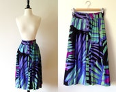 1980s black abstract tropical print button front midi skirt xs