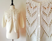 1980s cream open knit cropped chevron cardigan sweater s