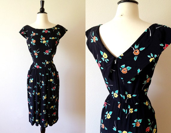 1980s maggy london black floral reverse collar dress s m