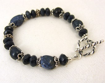 Denim blue and Bali sterling silver bracelet