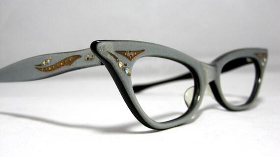 Vintage Cat Eye Glasses Silver and Gold 50s Vintage Eyeglasses