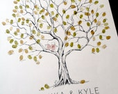 SMALL Olive Tree, The original hand-drawn guest book fingerprint tree