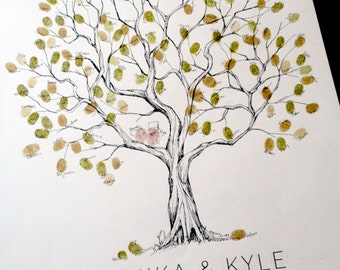 Olive Wedding Tree, Fingerprint Tree, Guestbook Alternative, Original Hand-drawn Design, Thumbprint Tree on Watercolor paper