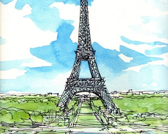 Paris Eiffel Tower 2nd art print from an original watercolor painting