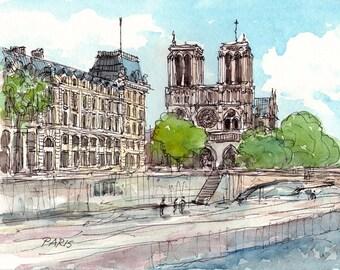 Paris Notre Dame Cathedral Saine Bridge, art print from watercolor painting