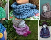 Crochet patterns e-book  : 5 different cowl patterns for women and children