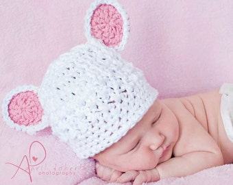 Crochet baby bear cotton beanie for newborn--pink accented kidlid