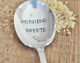 MORNING SWEETS (TM) -  Hand Stamped Vintage Sugar Spoon for Your Sweetie by jessicaNdesigns