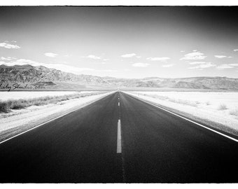 Lonesome Highway : california photography desert death valley landscape black white photo monochrome home decor 8x12 12x18 16x24 20x30 24x36