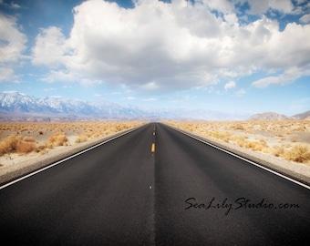 Open Road : highway photography california desert death valley landscape photo cloud blue sky home decor 8x12 12x18 16x24 20x30 24x36