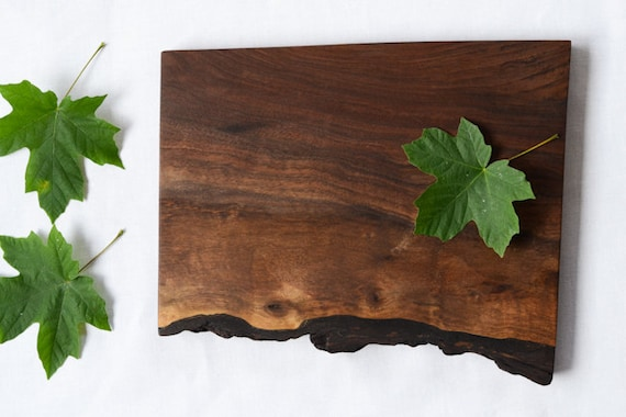 Natural Edge Salvaged Black Walnut Wood Cutting Board 685, Ready to Ship