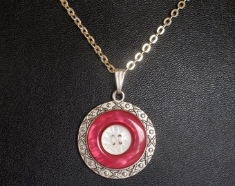 Rose Colored Vintage Button Pendant