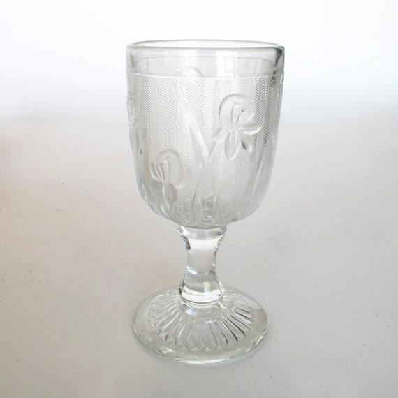 Six Iris and Herringbone 3 oz Wine Goblets