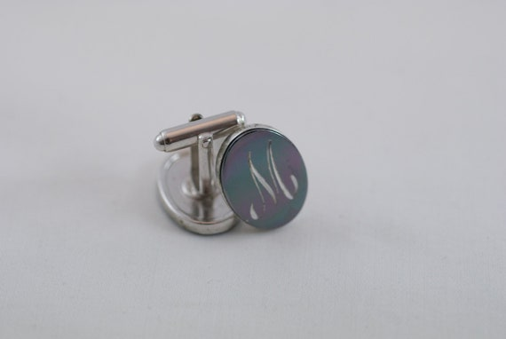 Vintage Silver Tone Metal Engraved 'M' Cuff Links  .....1499