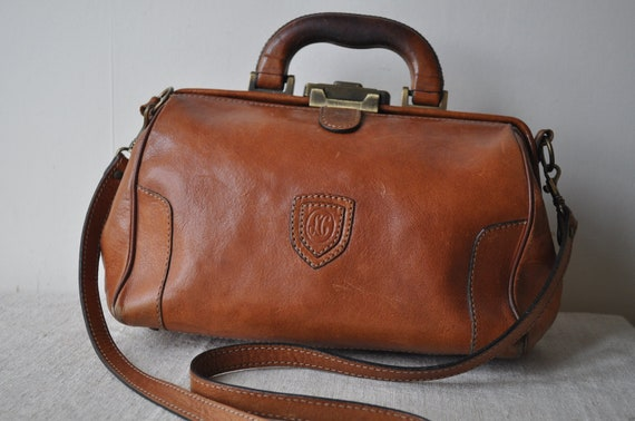 Vintage French Doctors Bag Style Leather Bag