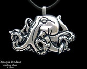 Octopus Pendant Necklace Sterling Silver