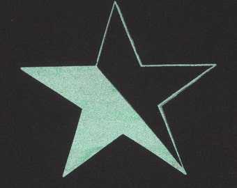 Green Anarchy Patch Star - Green on Black Canvas, Large Back Patch - bag anarchy patch punk patches anarchist shiny radical