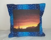 Decorative Accent Pillow Cover WITH Insert 14x14 Beautiful Photo Arizona Sunset