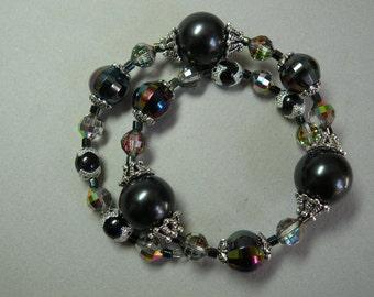 Black & Silver Wrap Bracelet