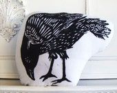 Plush Crow or Raven Pillow. Hand Woodblock Printed. Choose ANY Color. Made to Order.