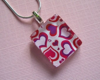 Hearts Print Pendant with Silver Chain Necklace